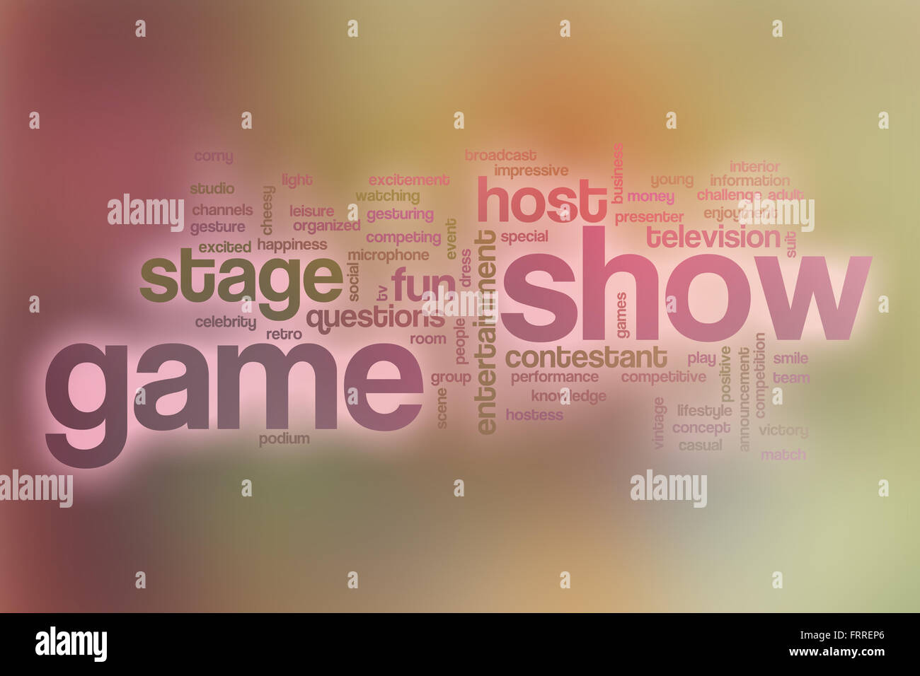 Game show word cloud concept with abstract background - Stock Image