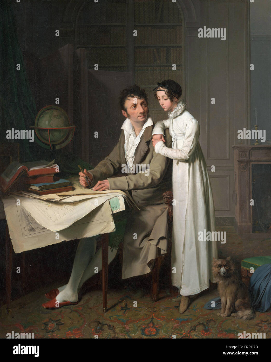 Louis-Léopold Boilly - The Geography Lesson (Portrait of Monsieur Gaudry and His Daughter) - Stock Image