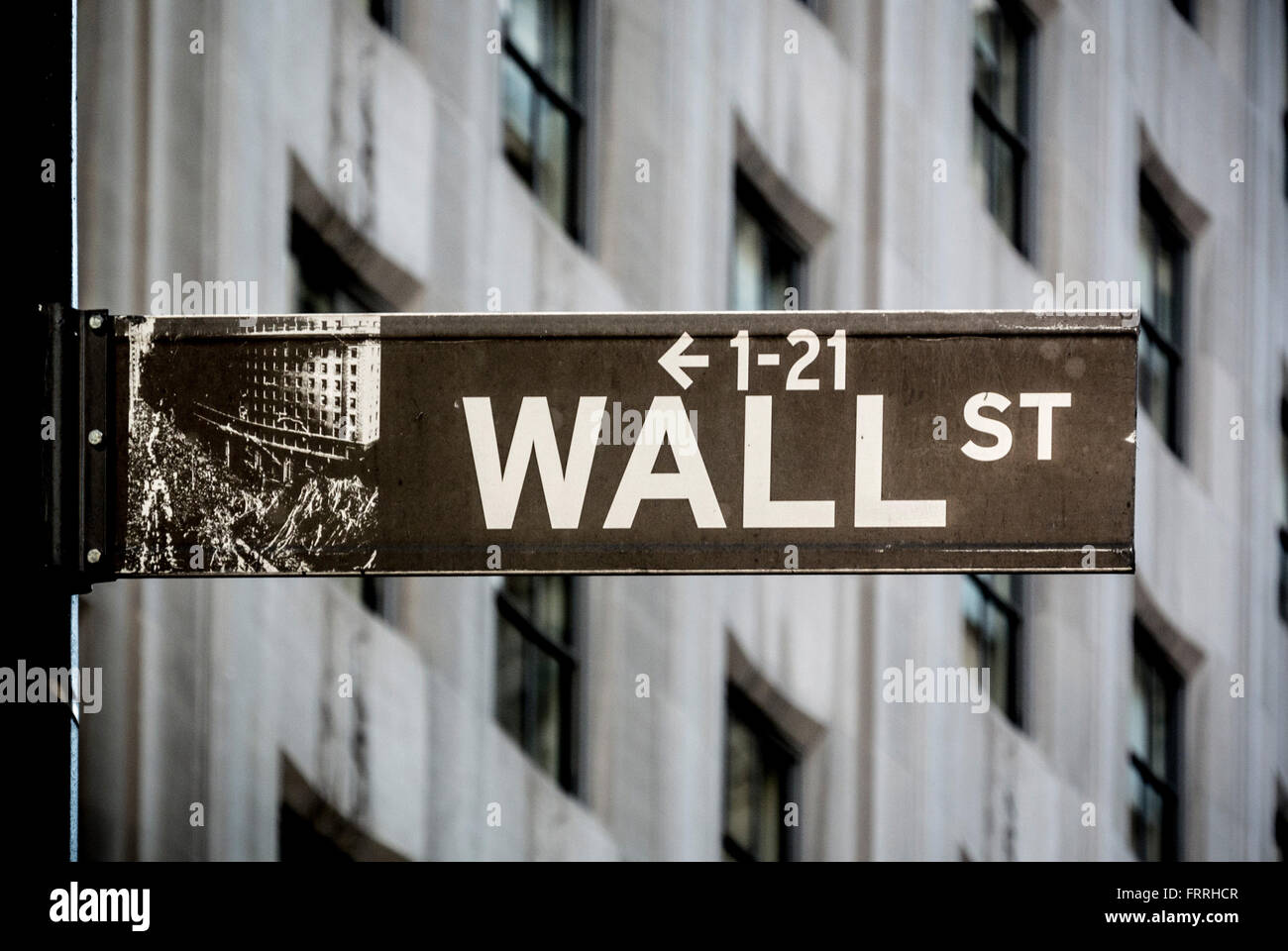 Wall Street sign, Lower Manhattan, New york City, USA. - Stock Image