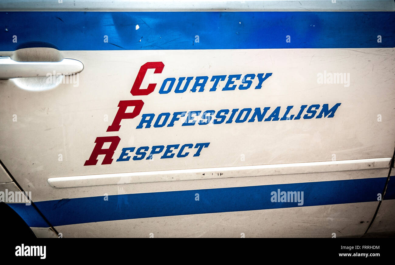 Courtesy Professionalism Respect logo on side of NYPD Patrol Car, New York City, USA. - Stock Image