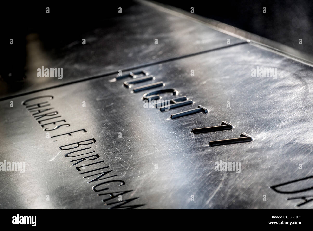 Names of victims engraved on 9/11 memorial, New York, USA - Stock Image