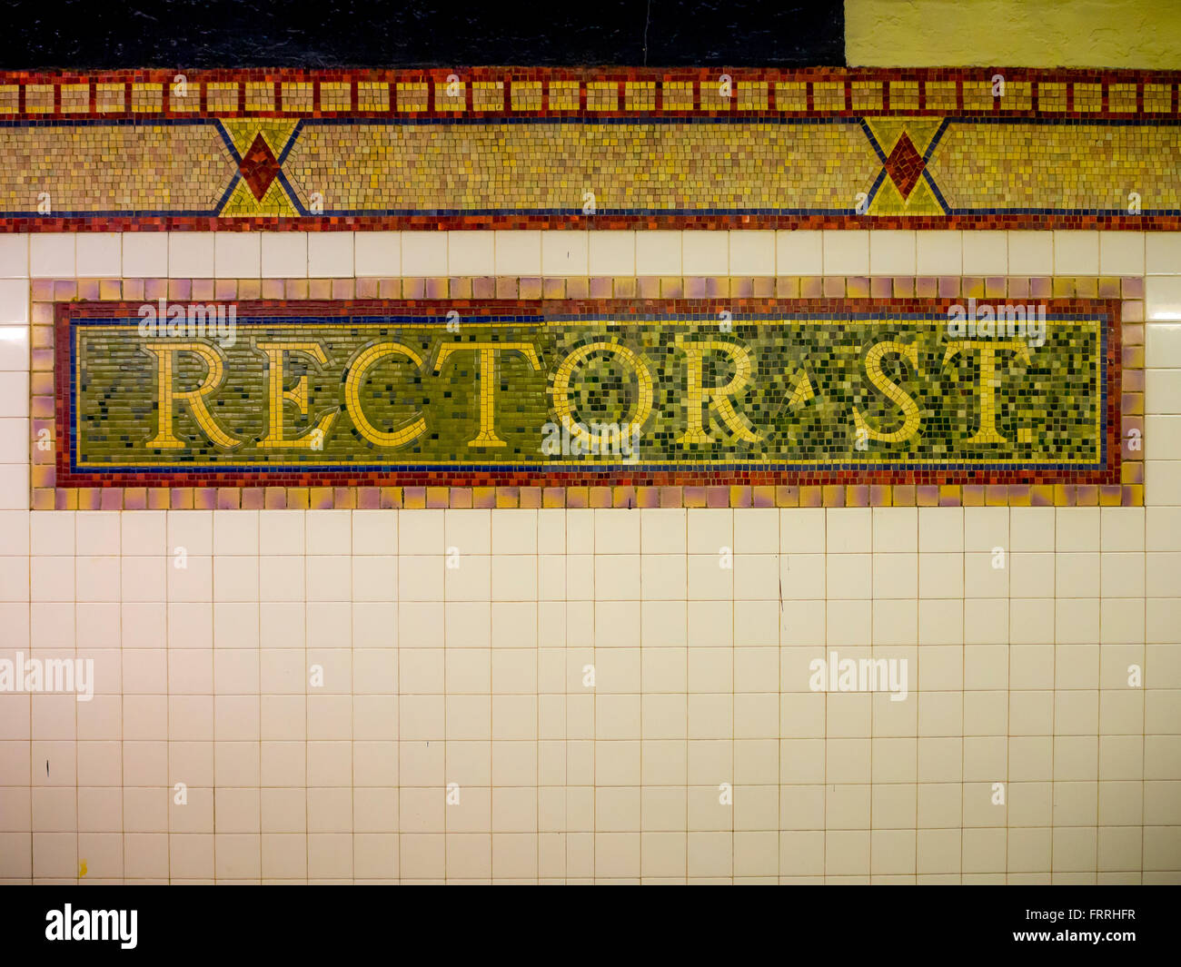 Rector St sign, Subway station, New York City, USA. - Stock Image