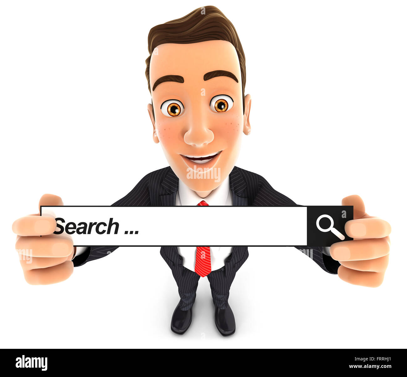 3d businessman holding a search bar, isolated white background Stock Photo