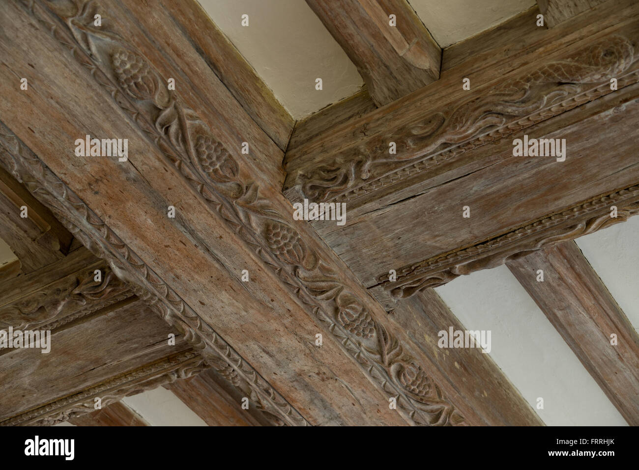 Decorated Wooden Roof Or Ceiling Beams. Oak Beams. Carved Wood Decoration.    Stock