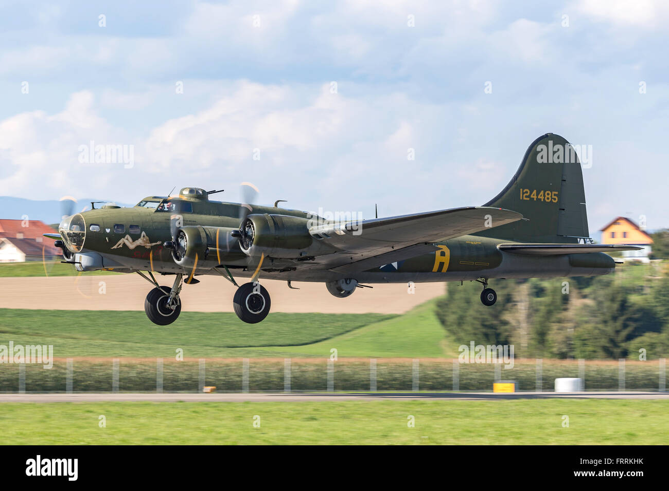 Boeing B-17G 'Flying Fortress' G-BEDF known as 'Sally B' is a Second World War bomber aircraft. Stock Photo