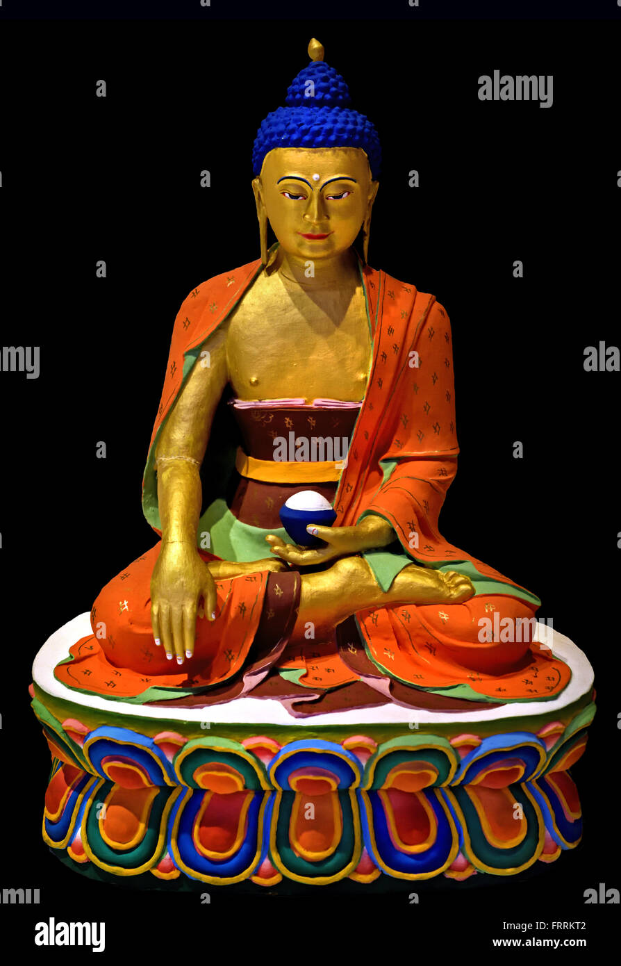 Buddha Shakyamuni usually the main picture on a Bhutanese altar   Thimphu Bhutan clay paint gold and copper ( Bhutan, - Stock Image