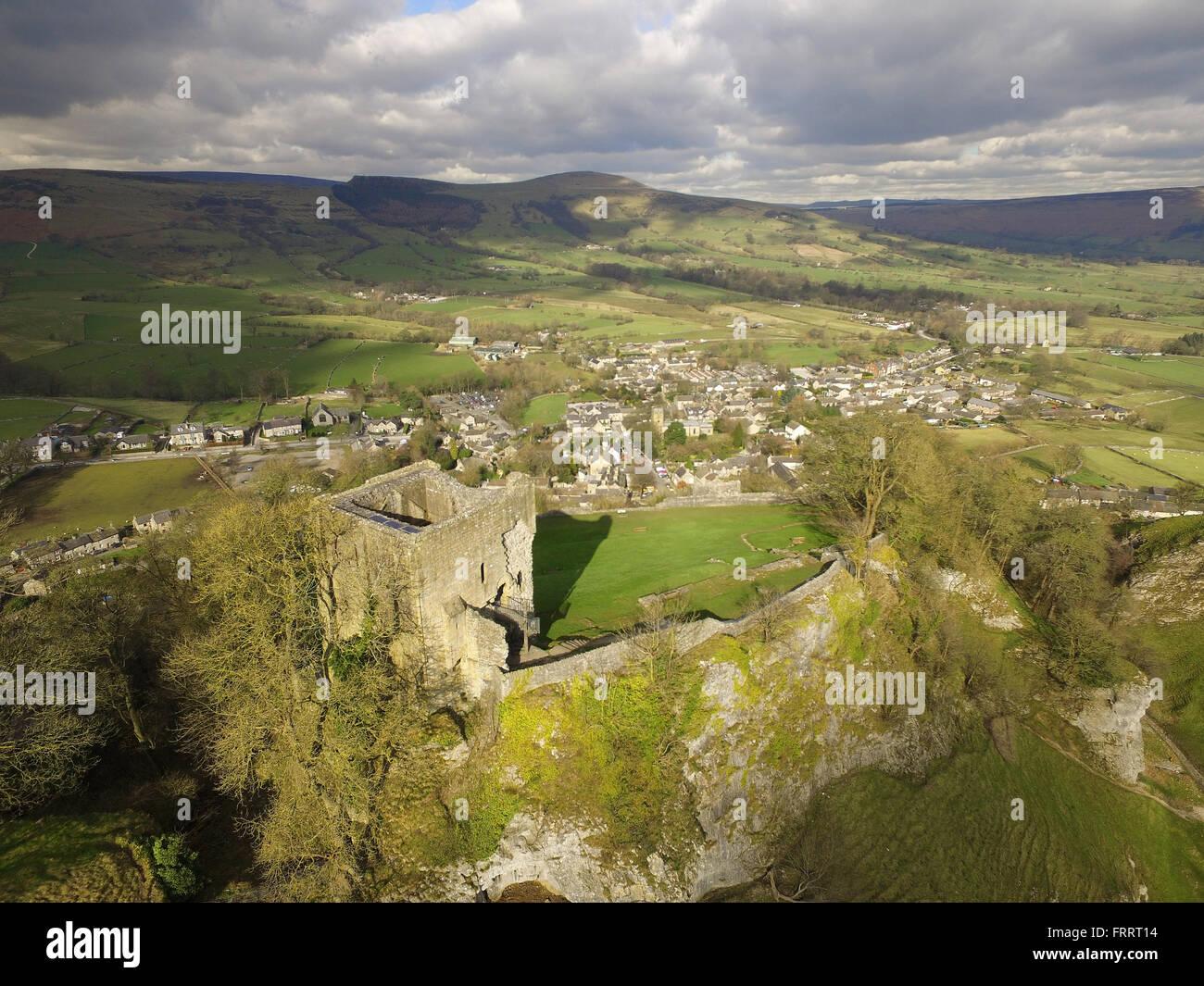 Castleton Peveril Castle Derbyshire Peak District - Stock Image