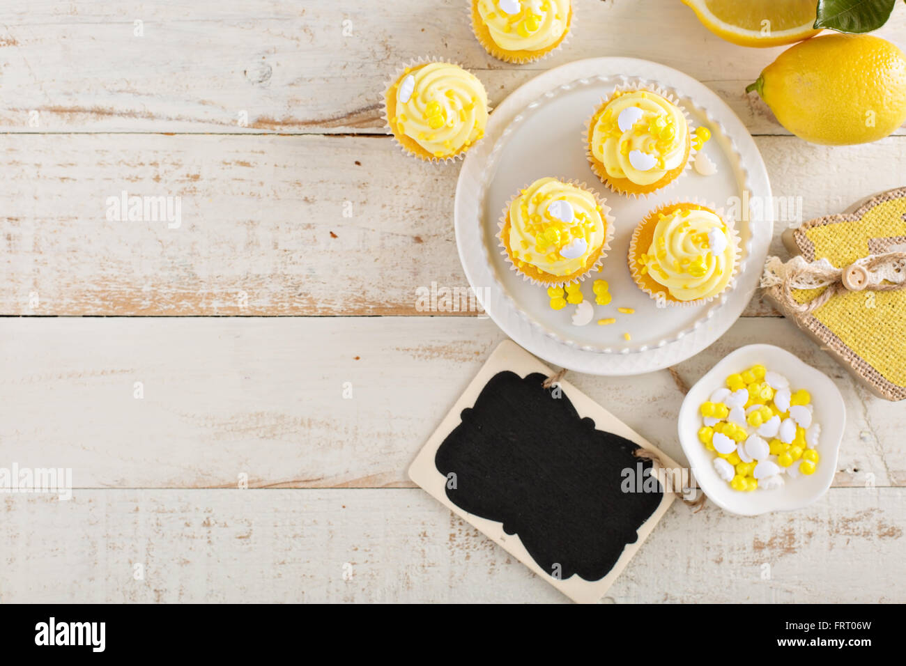 Lemon cupcakes for Easter - Stock Image
