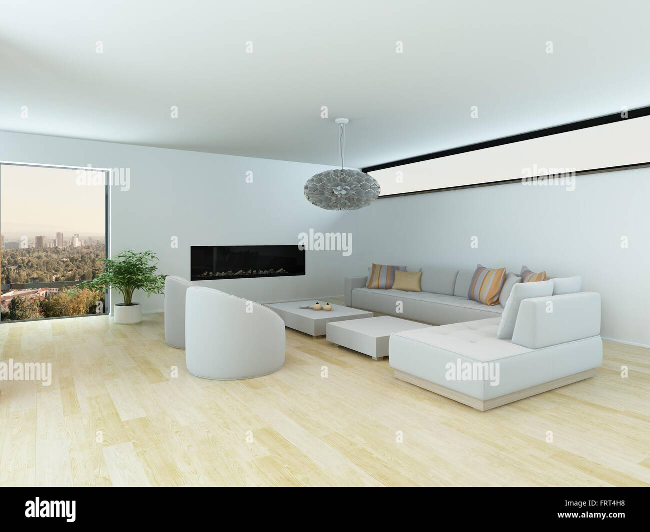 Contemporary living room with a white modular suite and ...