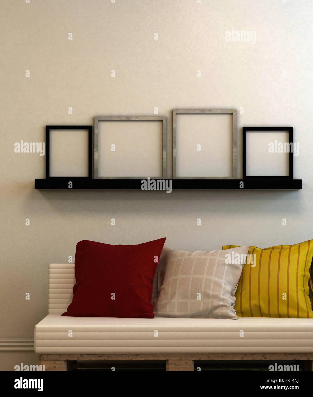 Modern Couch With Cushions And Four Blank Picture Frames On