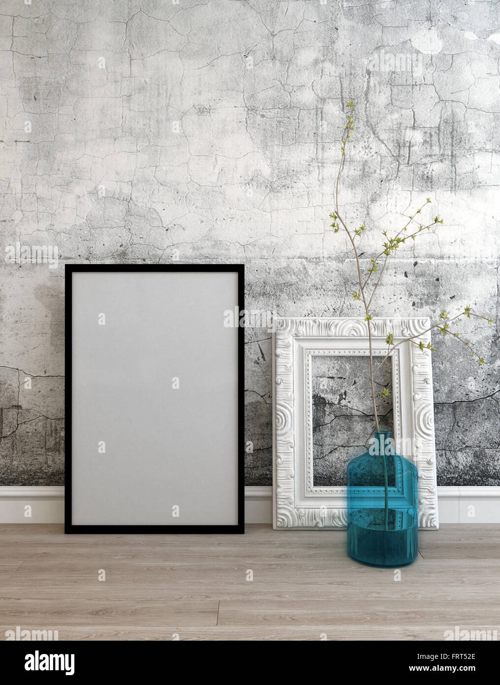 3D background setting of old wall and two empty picture frames with ...