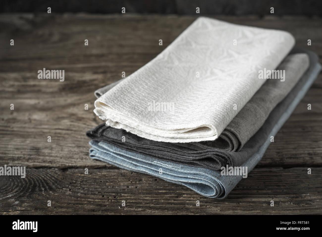 Napkin set on the wooden table horizontal - Stock Image