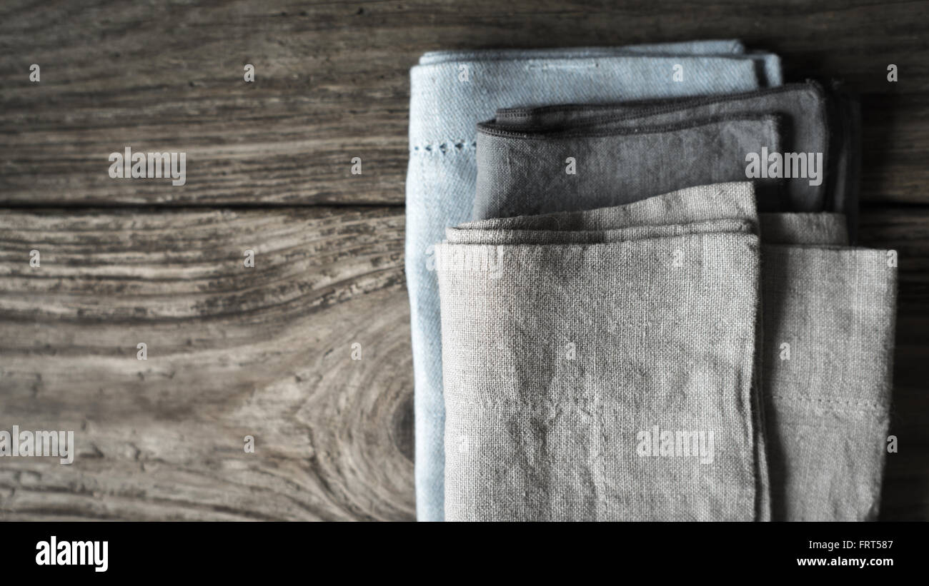 Napkin set on the wooden table - Stock Image