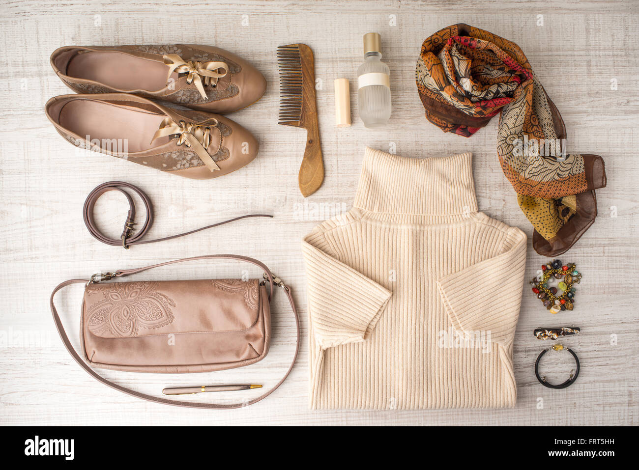 Fashion look set in beige colors horizontal - Stock Image