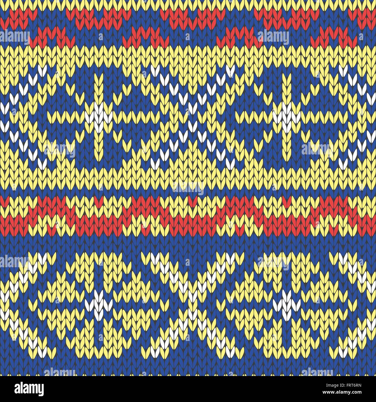 Abstract Ornamental Seamless Vector Pattern as a stylish Fabric Knitted ethnic texture in blue, yellow and red hues - Stock Vector