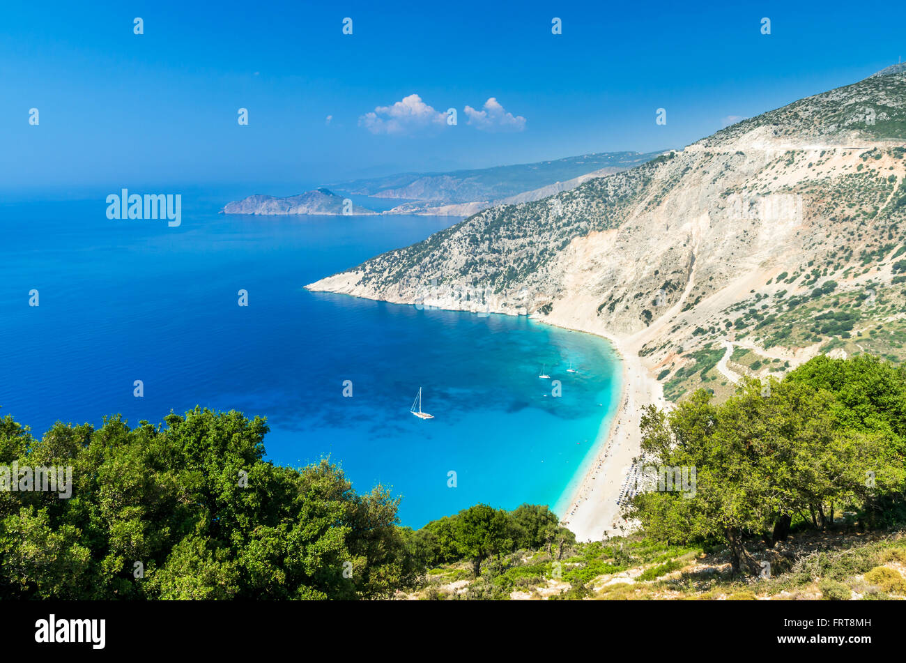 Myrtos beach, Kefalonia island, Greece. Beautiful view of Mirtos bay and beach on Kefalonia island - Stock Image