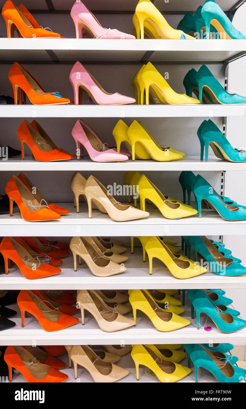 High heel shoes on display in Primark store uk - Stock Image