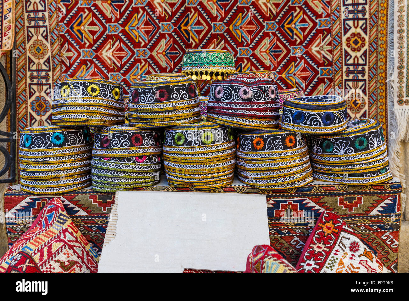 Traditional hats with hand-embroidered Azerbaijan - Stock Image