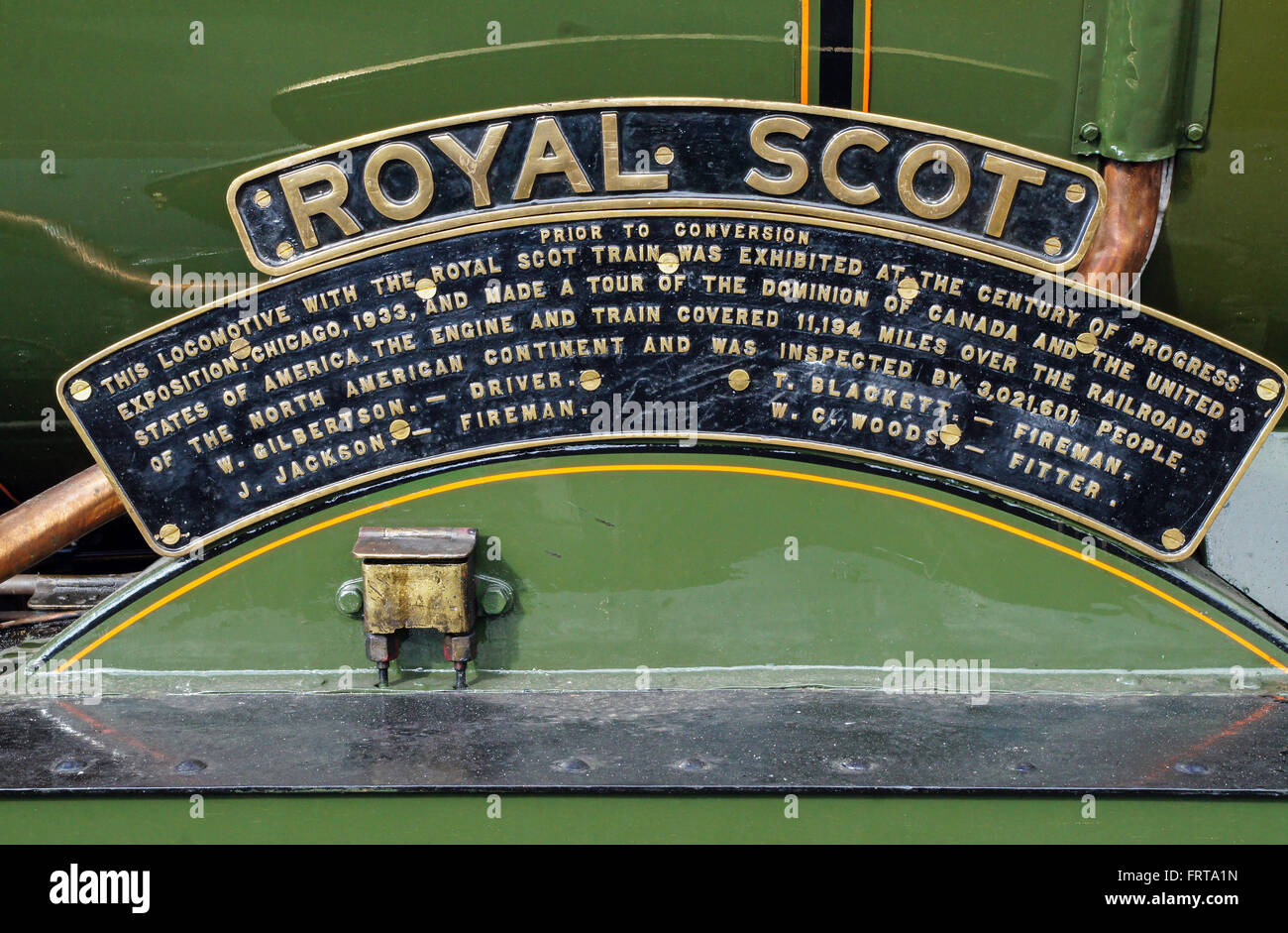 Name plate of 6100 Royal Scot - Stock Image