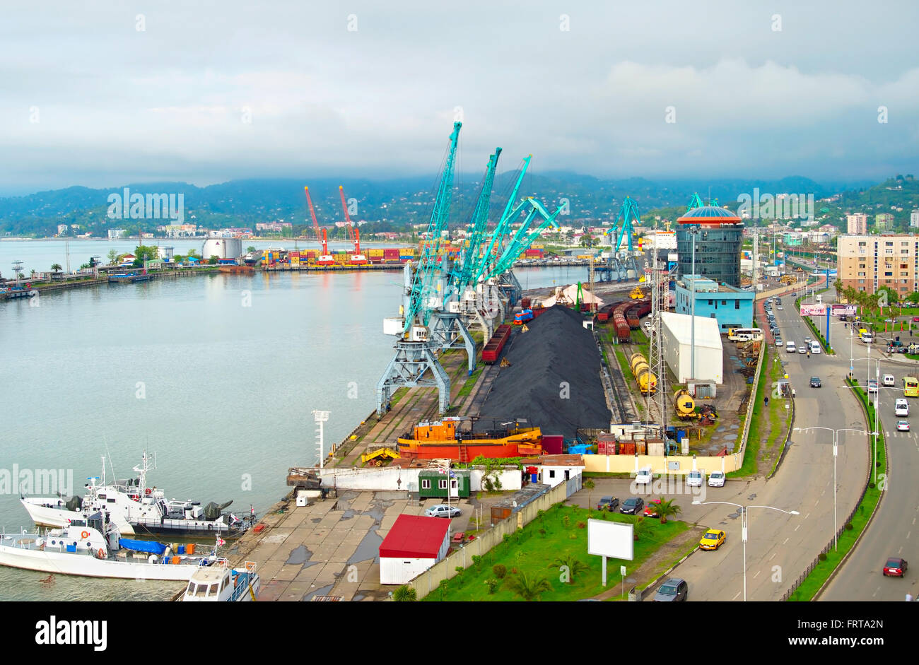 Top view of Batumi industrial sea port. Georgia Republic - Stock Image