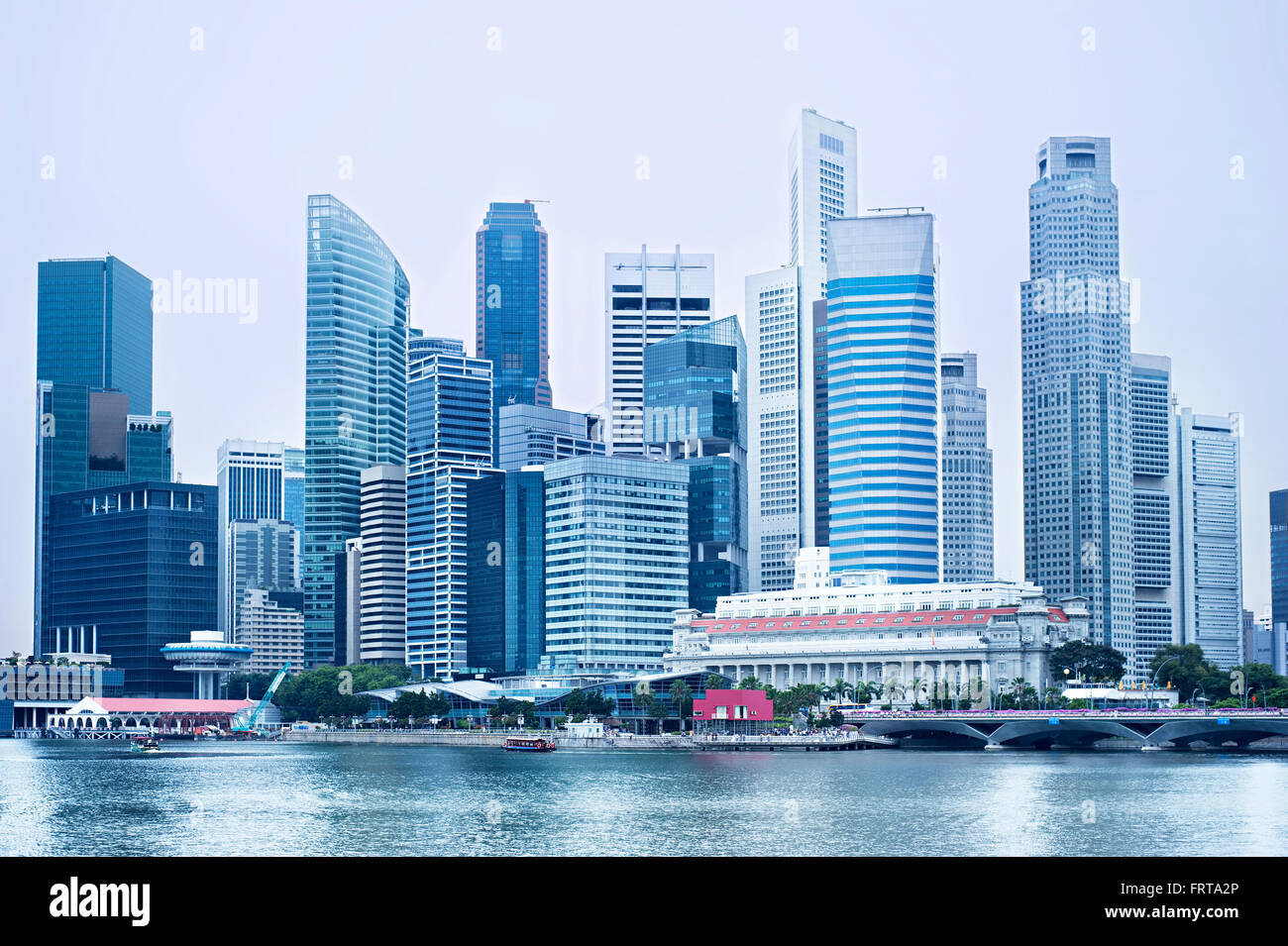 Futuristic Downtown Core of Singapore in blue color. - Stock Image