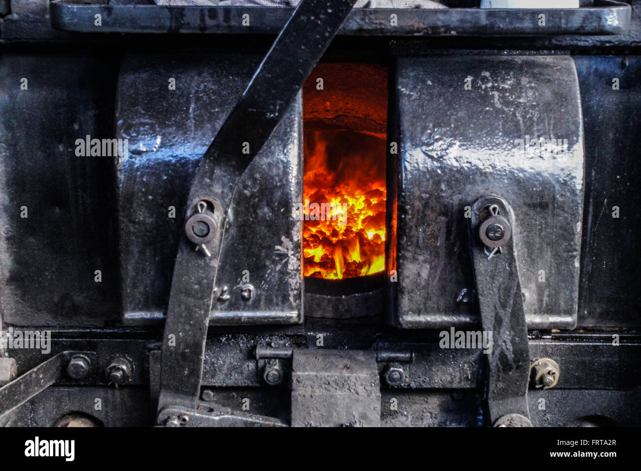 Firebox of 6100 Royal Scot - Stock Image