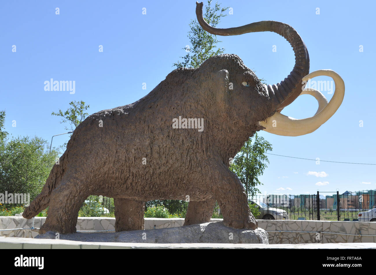 Monument mammoth. Located in the courtyard of the Institute for the study of permafrost in the city of Yakutsk, - Stock Image