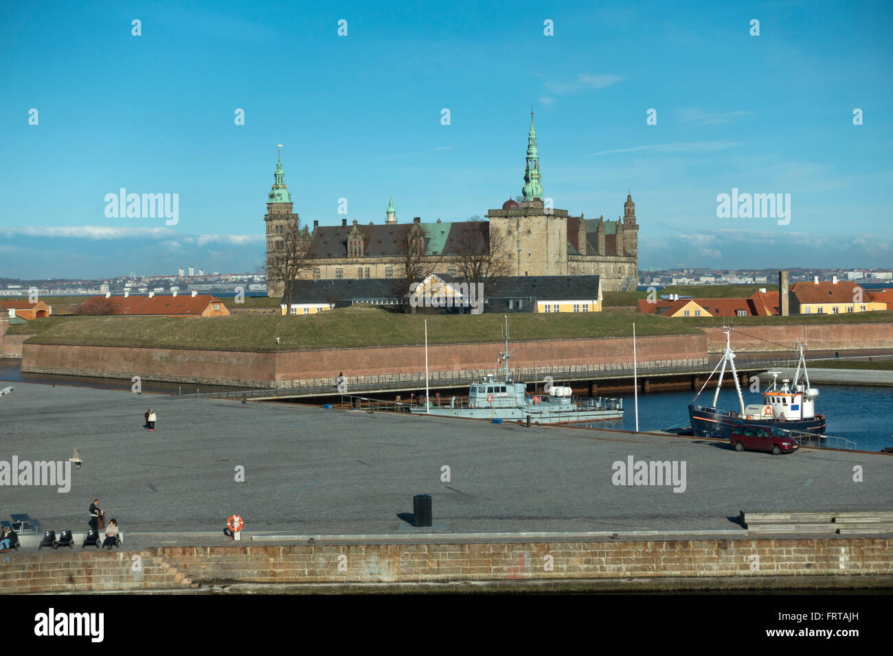 View of the harbour and Kronborg Castle towards the Sound and Sweden from the Culture Yard in Elsinore / Helsingør - Stock Image