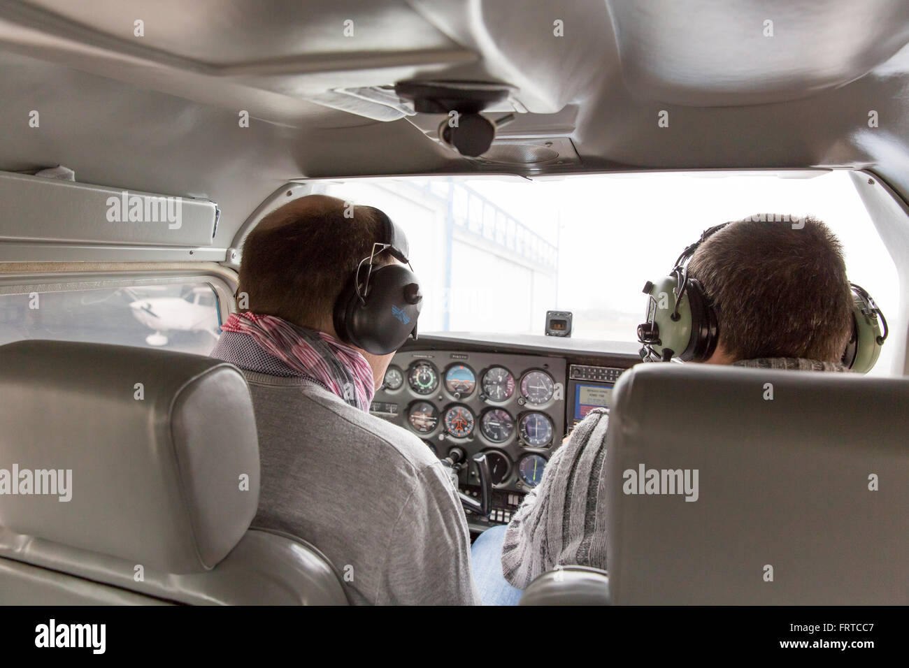 Flying lesson in airplane - Stock Image