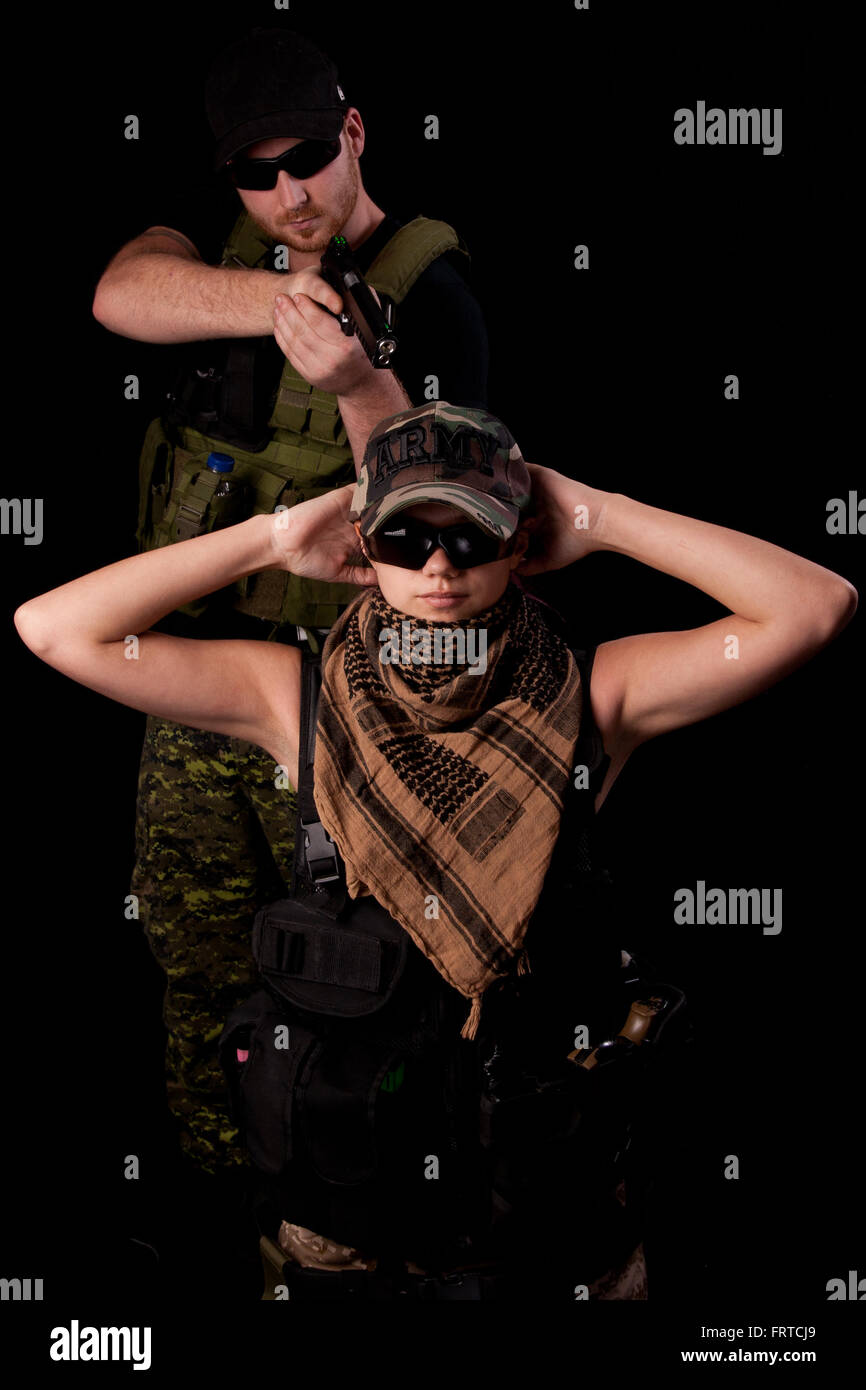 Hostage situation (Airsoft simulation). - Stock Image