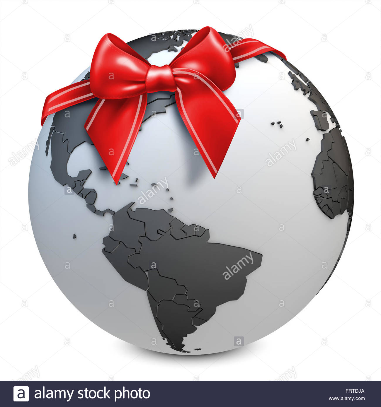 3d earth globe black with red bow on white background - Stock Image