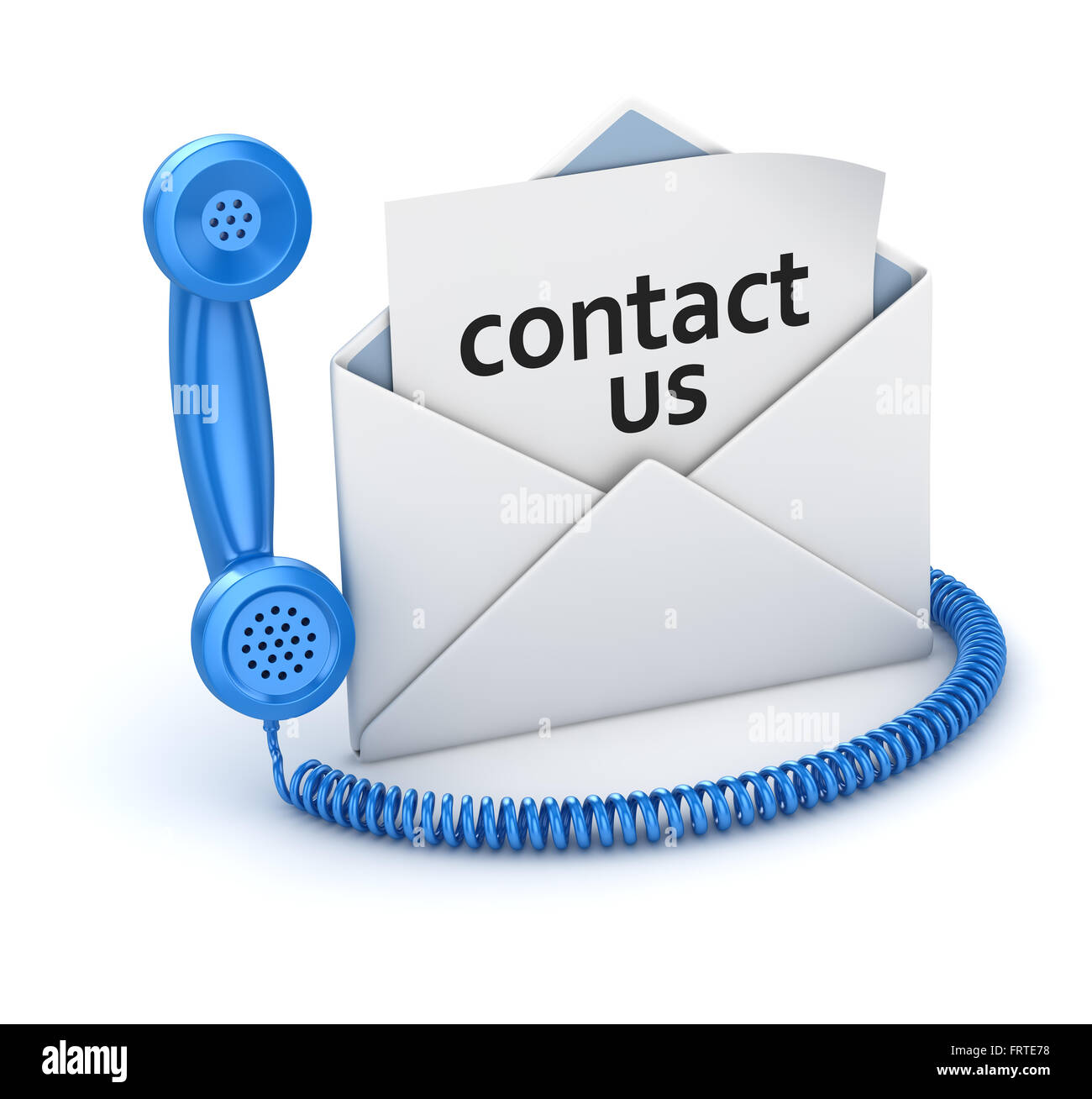 Contact us page in white envelope and blue handset , This is a 3d computer generated image. Isolated on white. - Stock Image
