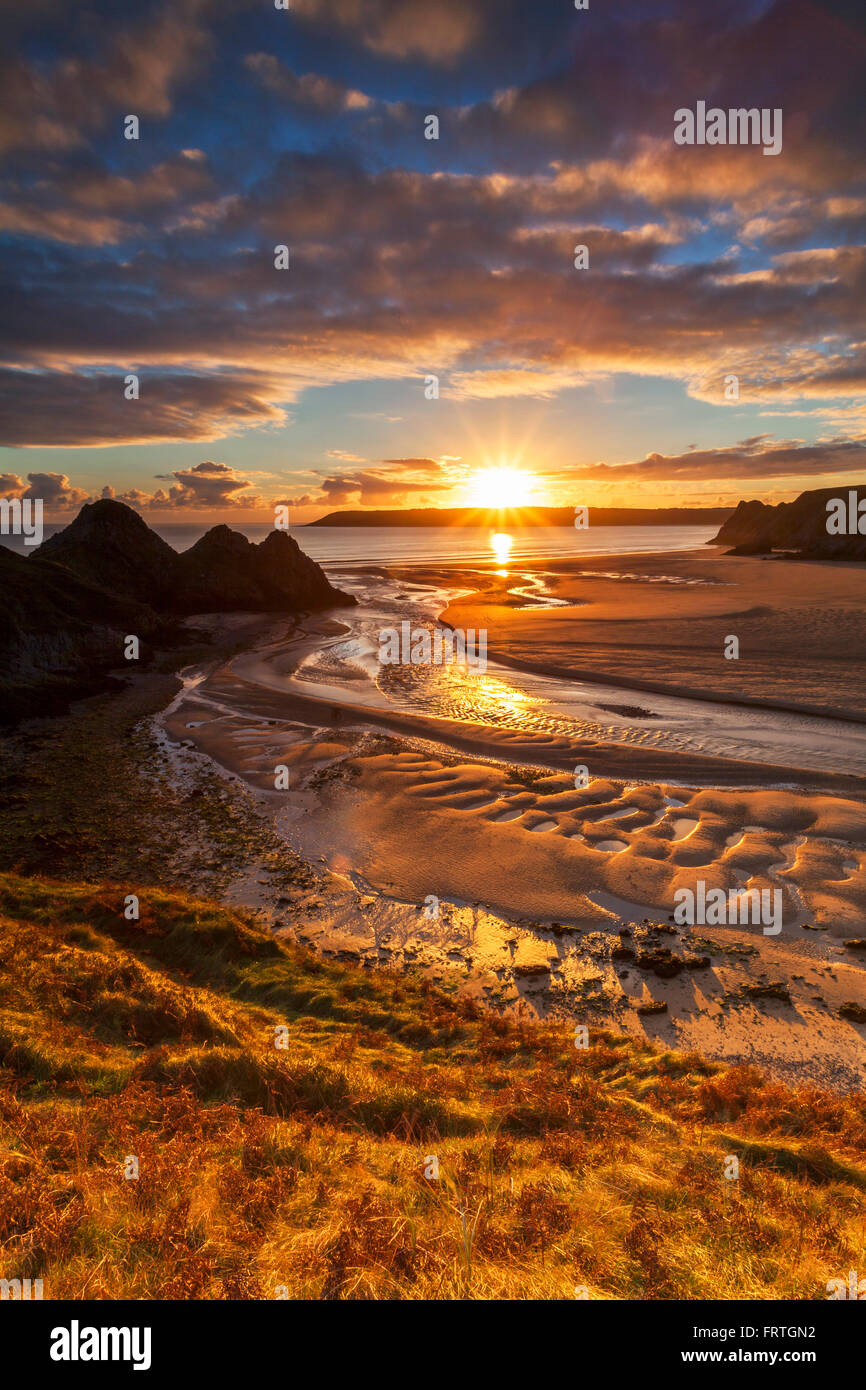 Three Cliffs Bay, Gower, Wales,UK - Stock Image