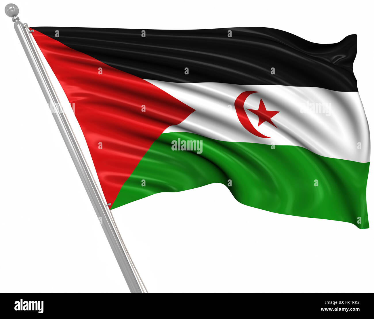 Flag of the Sahrawi Arab Democratic Republic , This is a computer generated and 3d rendered picture. - Stock Image