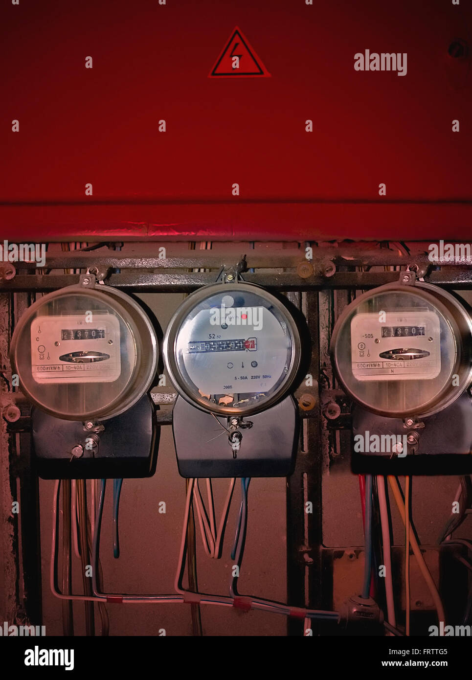 the electricity supply meters - Stock Image