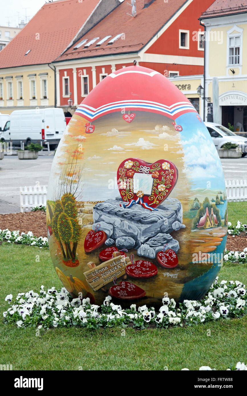 Big Easter eggs in front of the Cathedral,1,Zagreb,2016. - Stock Image