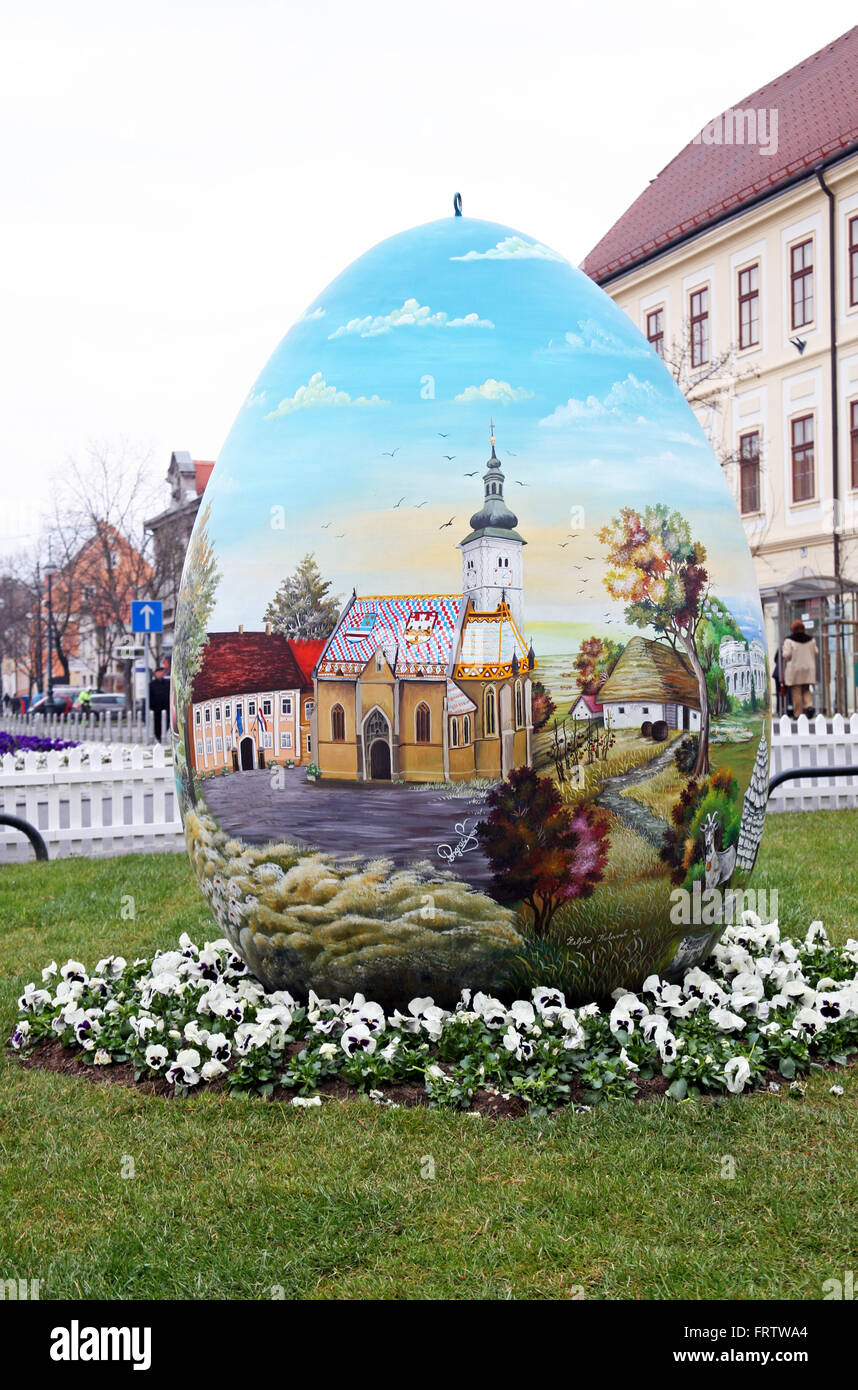 Big Easter eggs in front of the Cathedral,3,Zagreb,2016. - Stock Image