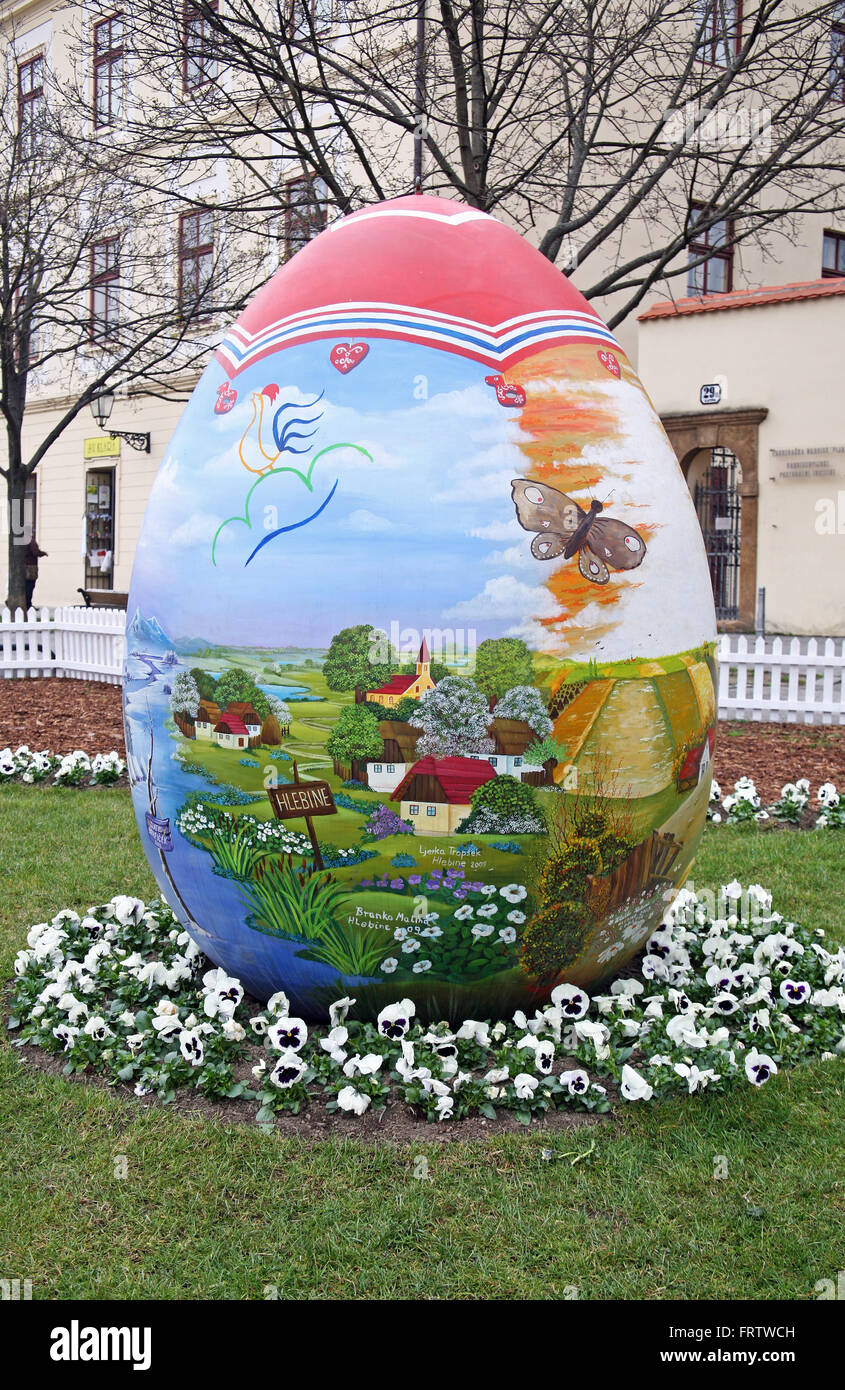 Big Easter eggs in front of the Cathedral,7,Zagreb,2016. - Stock Image