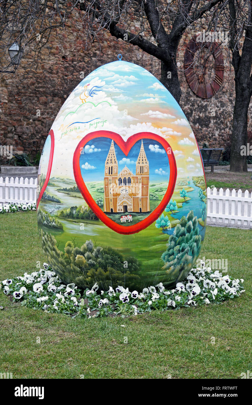 Big Easter eggs in front of the Cathedral,8,Zagreb,2016. - Stock Image