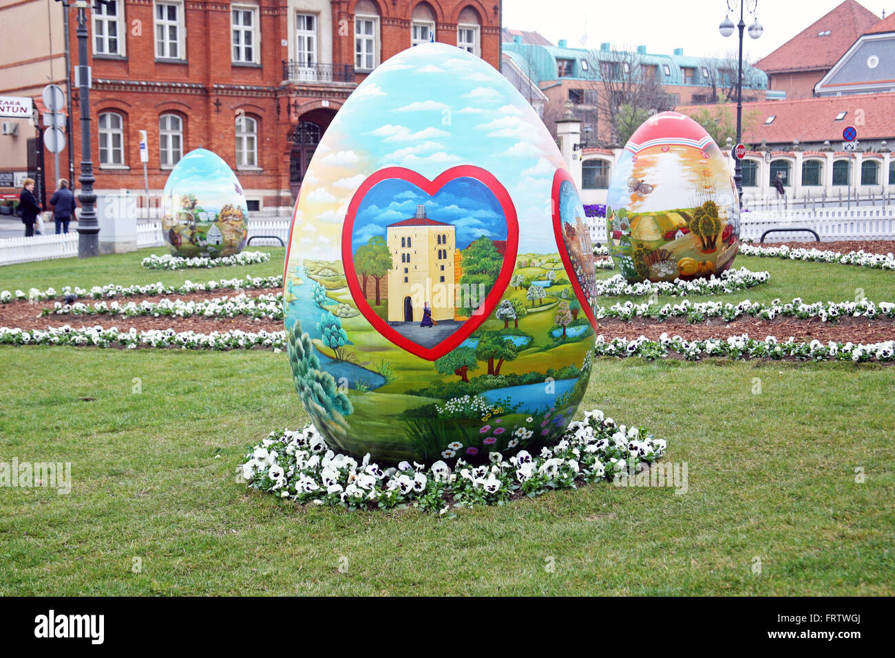 Big Easter eggs in front of the Cathedral,5,Zagreb,2016. - Stock Image