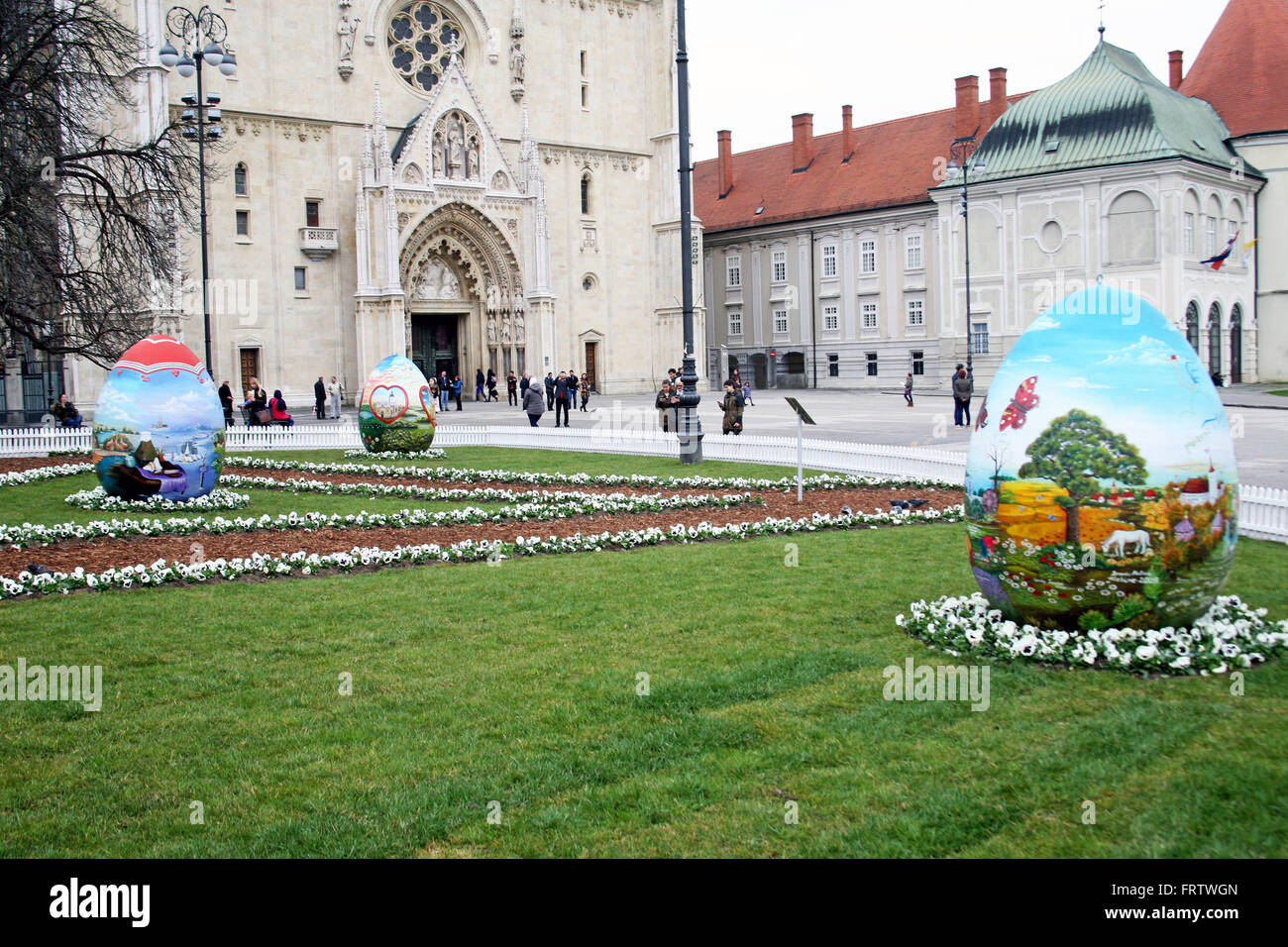 Big Easter eggs in front of the Cathedral,9,Zagreb,2016. - Stock Image