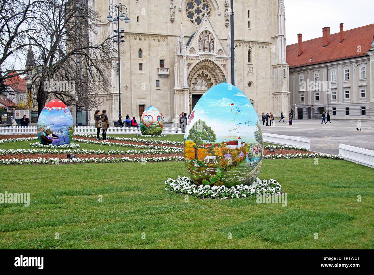 Big Easter eggs in front of the Cathedral,10,Zagreb,2016. - Stock Image
