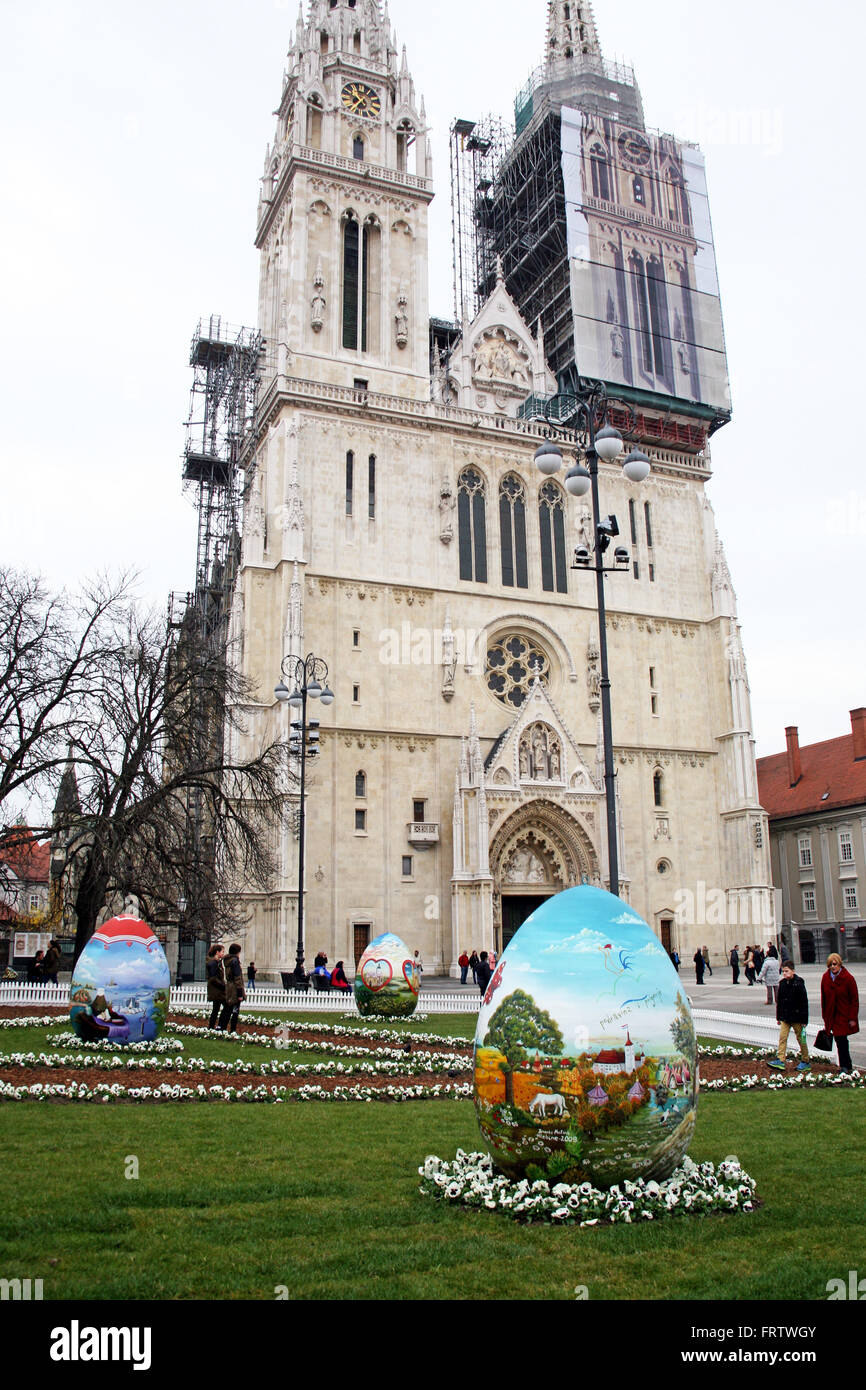 Big naive painted Easter eggs in front of the Cathedral,11,Zagreb,Croatia,EU,2016. Stock Photo
