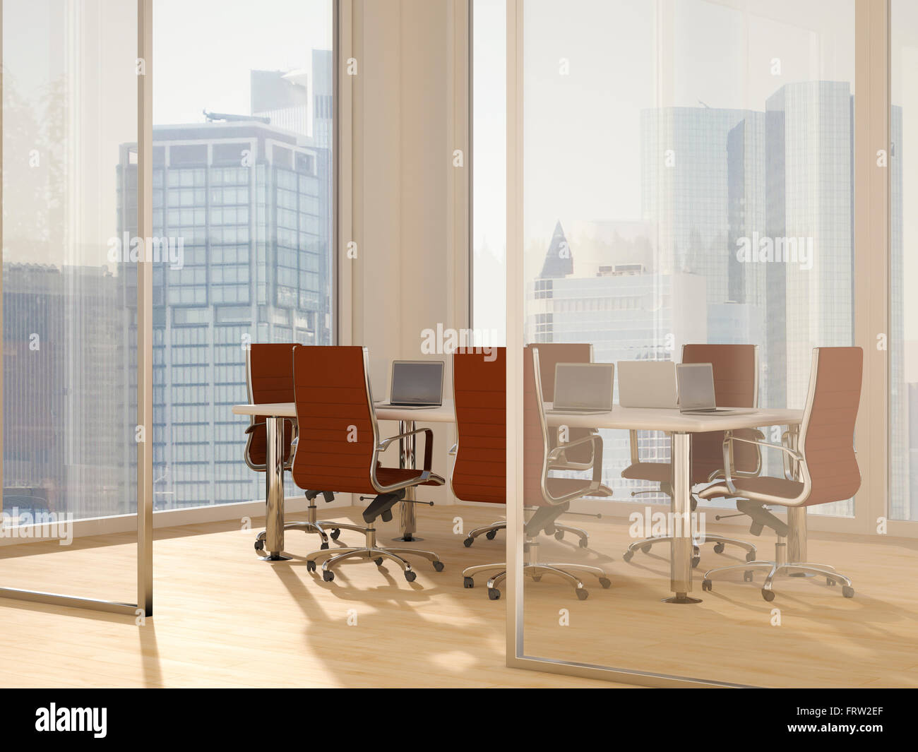 Business, office, modern conference room, 3D Rendering - Stock Image