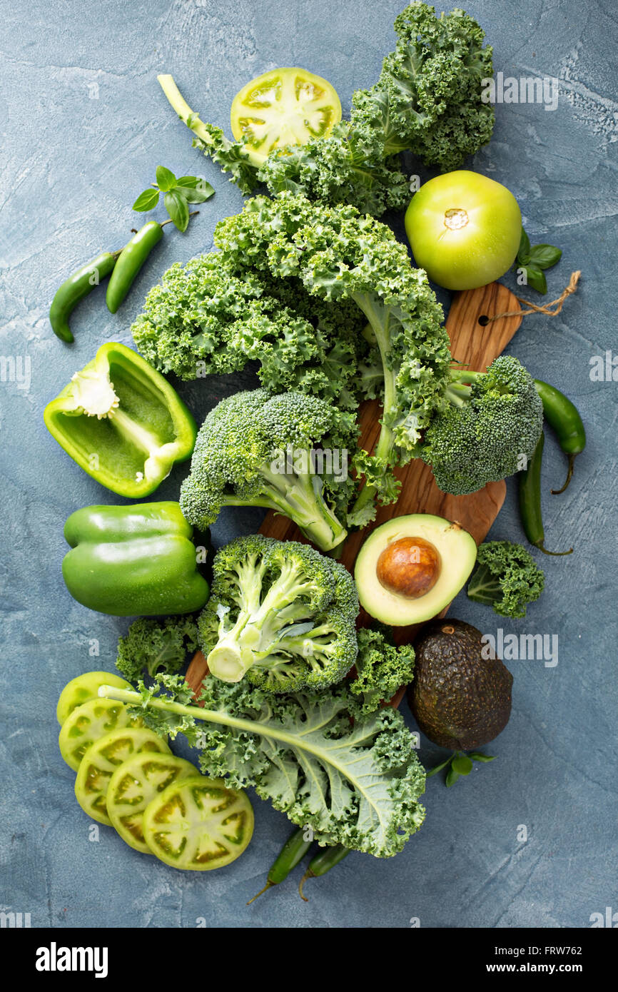 Variety of green vegetables - Stock Image