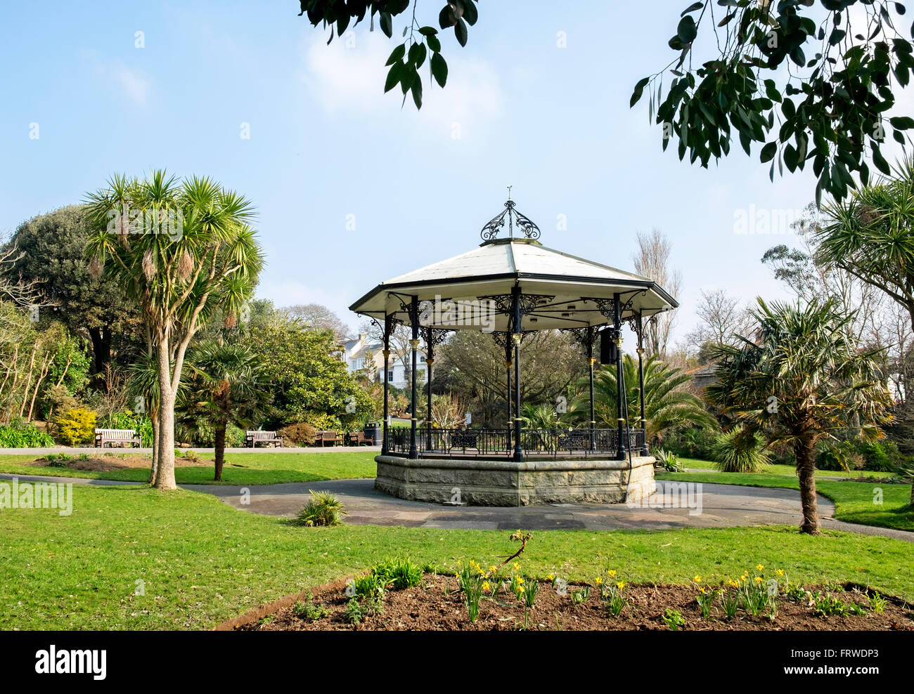 The Bandstand at Morrab gardens in Penzance, Cornwall, UK - Stock Image