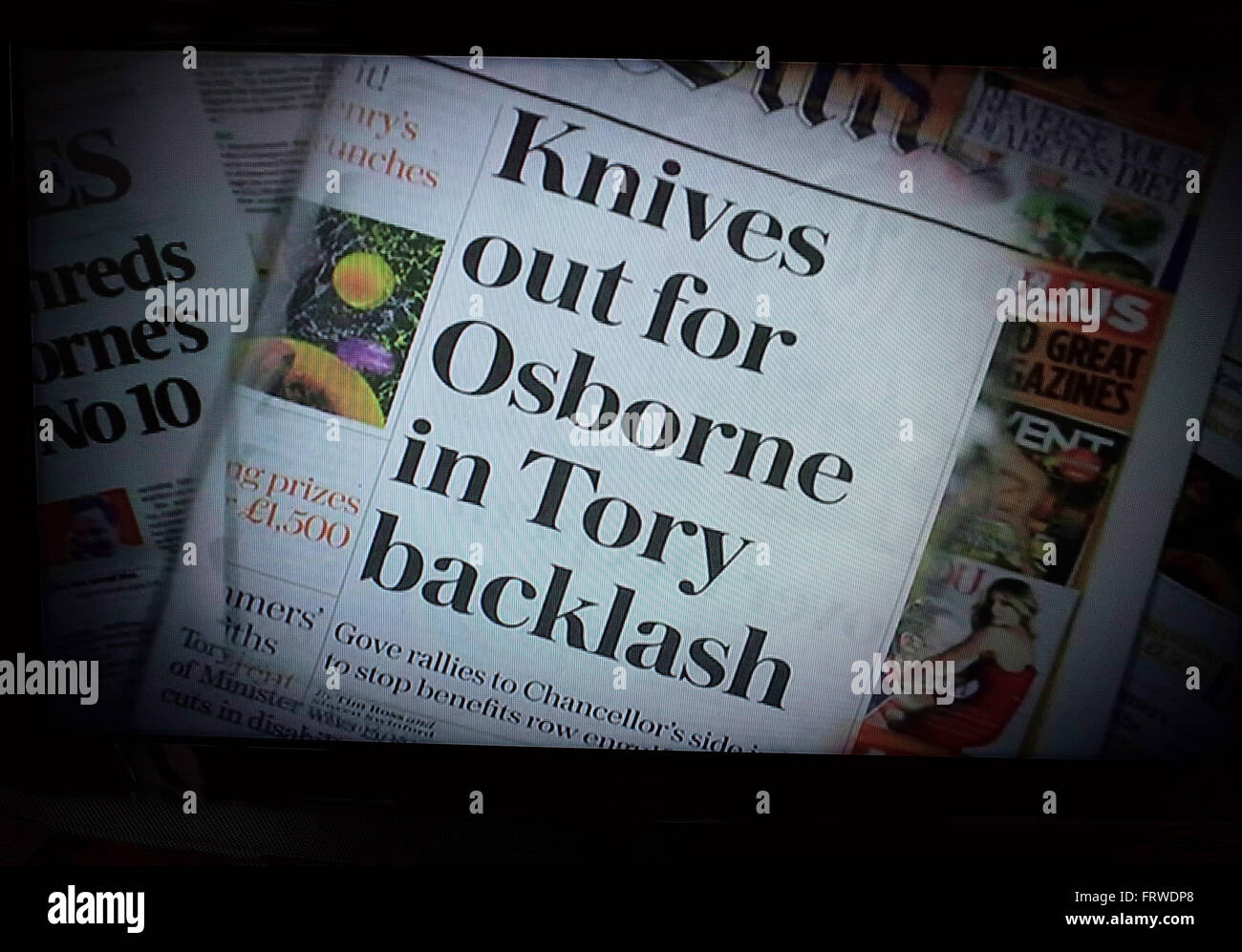 Newspaper headline about the Conservative Chancellor George Osborne after the March 2016 Budget - Stock Image