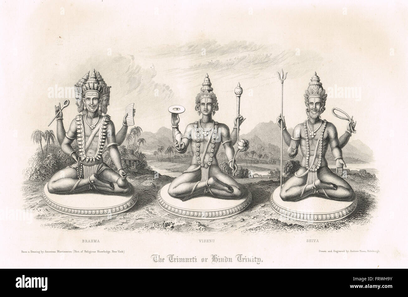 The Trimurti or Hindu Trinity Brahma Vishnu & Shiva - Stock Image