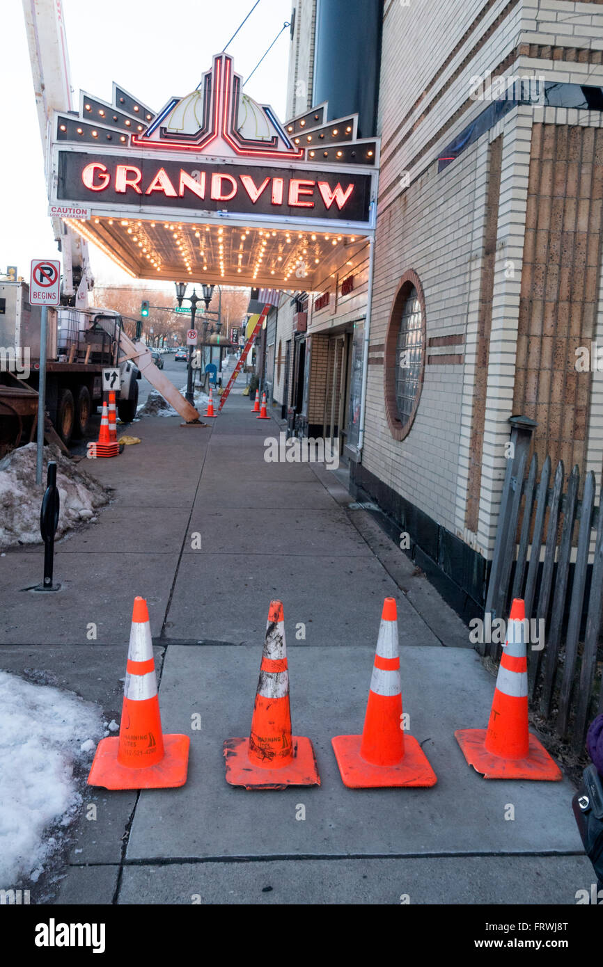 Four cones protecting us from the Grandview Movie Theater marquee. St Paul Minnesota MN USA Stock Photo