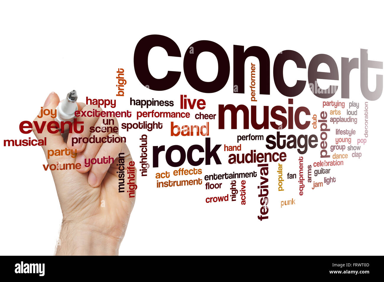 Concert word cloud concept with music live related tags - Stock Image